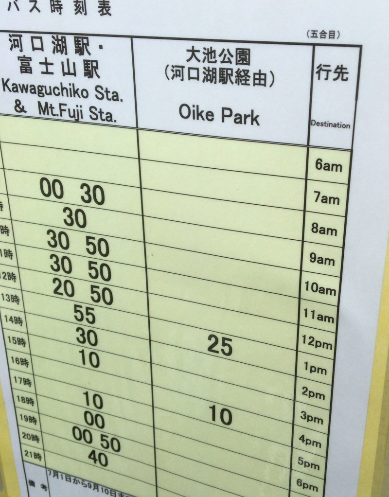 富士山五合目から富士山駅へバス
